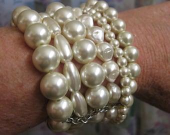 CHICO'S Bracelet Multi-Strand Pearl ~ Designer 7 Strand Pearl Bracelet ~ Chicos Pearl Stretch Bracelet