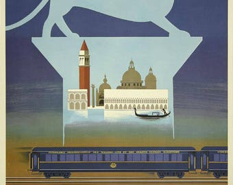 Vintage Orient Express London-Paris-Venice poster, beautiful poster in A2, A3 or A4 format paper matte 140g.