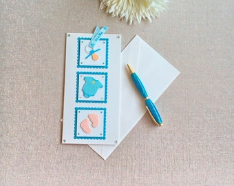 New baby boy card. Perfect for your congratulations. Handcrafted card, sweet baby card, cute baby card, it's a boy card, newborn card