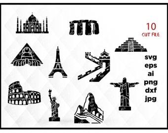 Colosseum, Liberty statue, Maya pyramid, Machu pichu, Sfinx, Great wall, Taj Mahal, Christ the Redeemer, SVG for Cricut & Silhouette