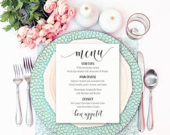 Wedding Menu Template, Wedding Reception Signs, Printable Table Menu, Printable Wedding Menu, Menu Download, Custom Menu Cards, Menu Sign
