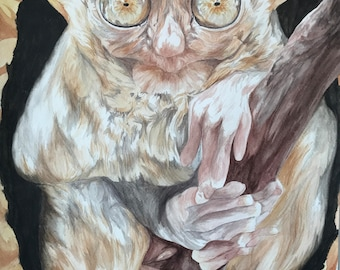 Original Watercolor Painting - Warm Natural Color Scheme - Tarsiers Are Weird