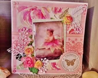 Baby girl shabby romantic with envelope, handmade