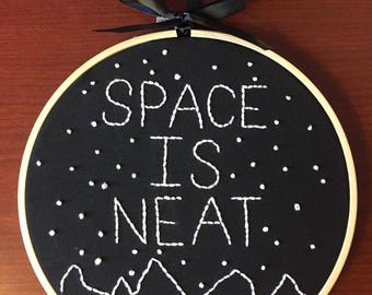 Space hand embroidery art