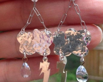 Sterling Silver Clouds, Lightning Bolt and Rain Drop Earrings