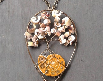 Shell tree with Ammonite fossil Necklace-Tree of Life-Wire wrapped nature