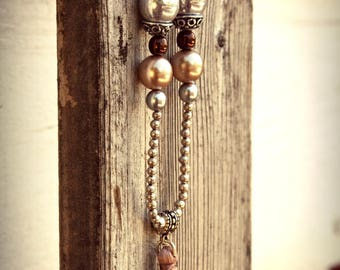 Necklace Long silver Metal Pearl Brown Taupe Beige tassel Bohemian Gypsy Boho beads