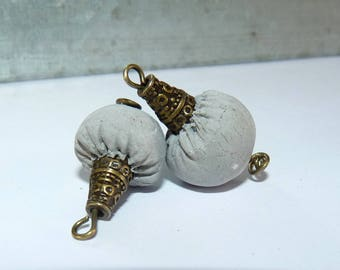 2 beads raw artisan concrete and bronze 20 x 10 mm-beads Bohemian sculpture piece for creating handmade