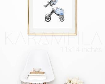 Stokke Print. Baby Stroller Print. Nursery Wall Art. Boys Nursery Print Watercolor Fashion Illustration. Stokke Poster. Fashion Poster Print