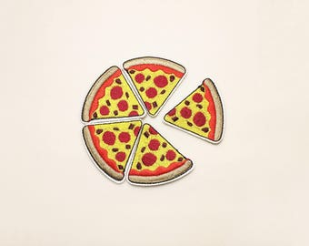 Pizza patch - iron on patch, food patch, embroidered patch, iron on applique, patch for backpack, patch for kids, cute patch, pizza