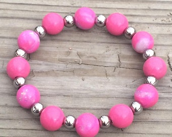 Hot Pink and Silver Handmade Polymer Clay Stretch Bracelet