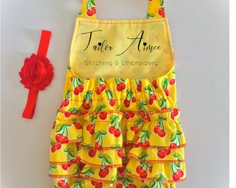 Baby girl cherry ruffle romper, yellow, newborn, toddler