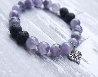 Amethyst In Love Diffuser Bracelet with Heart Charm
