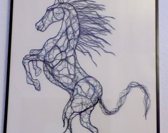 Horse sketch, drawing made in wire