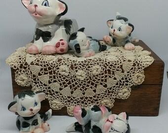 Vintage Ceramic Planter   Mama Cat and Kittens