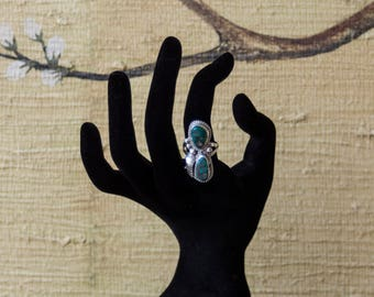 Signed Arizona Turquoise Sterling Silver Navajo Ring