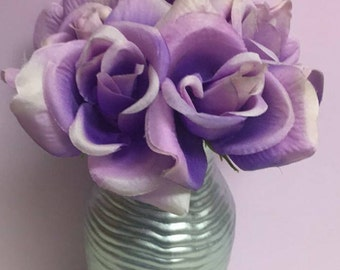 Metallic Silver vase with Lavender roses(centerpiece, baby shower, wedding, gifts)