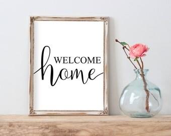Welcome Home Printable, Welcome Home Print, Welcome Home Wall Art, Welcome Home Quote, Welcome Home Decor, Housewarming Gift Farmhouse Print