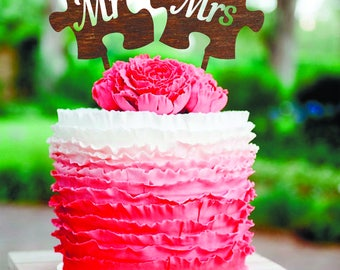 Cake topper Mr and Mrs Wedding Cake Topper silver Monogram wedding cake topper Puzzle Wooden Rustic Cake topper Mr & Mrs Wedding Cake Topper