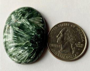 35.25x26.30 mm,Ovel Shape Seraphinite Russian Cabochon/Green Grey Flash/wire wrap stone/Super Shiny/Pendant Cabochon/Semi Precious Gemstone