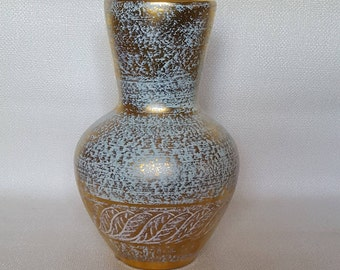 Vintage Gold and Aqua Stangl Pottery Vase #5023
