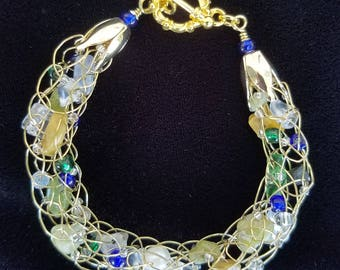 Moonlight in Vermont Gold Wire, Quartz, Stone, and  Pearl Bracelet