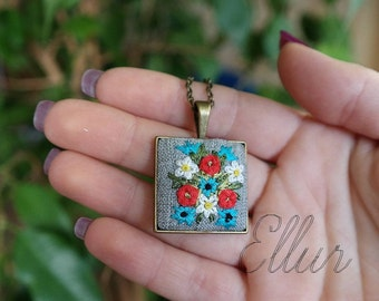 Embroidered pendant necklace Red poppies jewelry Flower wife Wild flower Eco pendant Unusual present Embroidery Ukrainian Beauty-gift Fabric