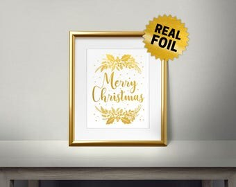Modern Christmas Print, Real Gold Foil Print, Merry Christmas, Gold Wall Art, Christmas Decor, Ornament, Wishes, Xmas, Holiday Decoration