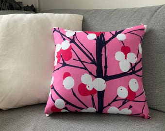 "Handmade Marimekko Fabric Cushion Cover, Pink Pillow Case, Accent Pillow, Throw pillow, Accent cushion cover 16"" 40cm, Finnish Design"