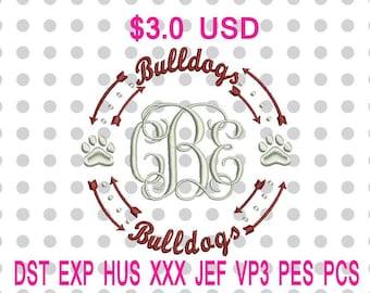 Bulldogs Paw Print Monogram Wreath Arrows Machine Embroidery Design 2 Sizes-INSTANT DOWNLOAD