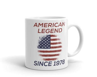American Legend Since 1978 Patriotic American Birthday Mug, veterans birthday gift, gift for him gift for her, distressed design, hand drawn