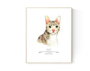 Bilingual Cat Nursery Art