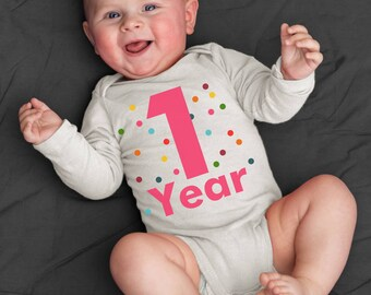 First Birthday Bodysuit - 1 year - Organic - Confetti Colors