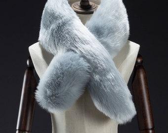 Faux Fur Scarf, Baby Blue Faux Fur Scarf, Faux Fur Scarves, Neck Warmer