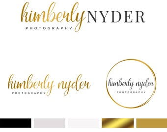 Branding Kit Template, Photography Logo, Photographer Logo, Branding Kit, Gold Logo, Premade Logo, 3 Logos, INSTANT DOWNLOAD, DIY Logo