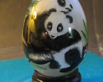 Inside Painted Decorative Glass Egg with Pandas and Bamboo on wood stand