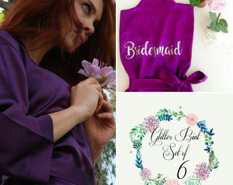 Set of 6 Bridesmaid Robes, Customized Silk Satin Robes, Personalized Wedding Gift, Wedding robe, Customized satin robe, Bridal party robe