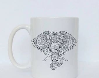 Tribal Elephant Mug / Elephant Coffee Mug / Custom Mug / Elephant Gifts / Elephant Gifts for Women / Gift for Daughter / Gift for Her