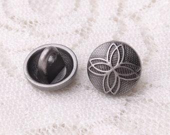 leaf buttons 10pcs  10*8mm light black metal buttons  round shank buttons shirt buttons