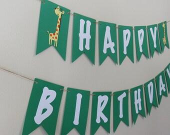 Zoo Animal Birthday Banner- First Birthday - Safari Jungle - Custom