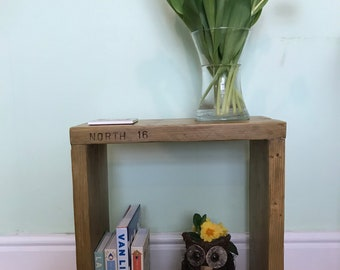 Reclaimed Wooden Display Cube, Side or Display Table