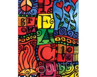 Peace and Love - Peace Sign / Colorful ACEO Card Print by Artist, Cindy Couling