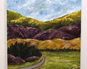 Purple Mountain, Multicolored Mountains, Mountain Range, Mountain Road, Winjimir, Home Decor, Cabin, Office Art, Wall Art, Gift, Travel, Art