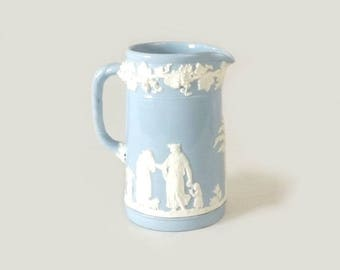 Wedgwood Queens Ware Pitcher, Small Light Blue & White Jug, Embossed Roman People Cherubs and Grapevines, Made in England