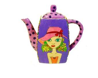 Sadler teapot, Design teapot, kitchen, serving Teapot, Home decor, Kitchen art, Kitchen decor, porcelain Teapots, hand painted teapot