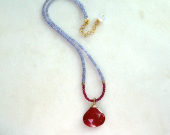 AAA RUBY, Tanzanite Focal Pendant, Ruby Strand Lariat necklace in 14kg fill...