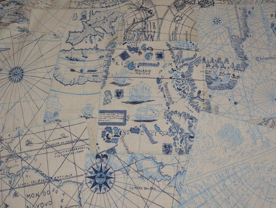 Fabric upholstery by the yard old world map waverly chart house fabric upholstery by the yard old world map waverly chart house nautical decor sailing pirate map home decor fabric tote bags from vintageinspiration on gumiabroncs Image collections