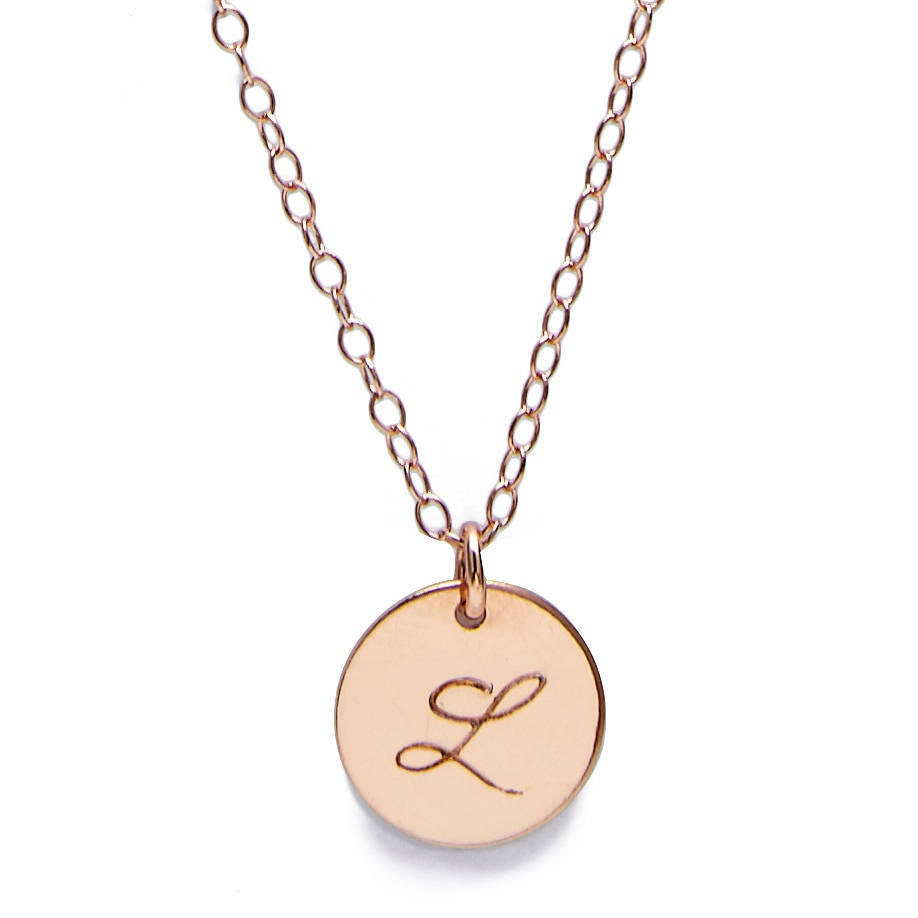 Monogram Initial Necklace Rose Gold Gift For Women