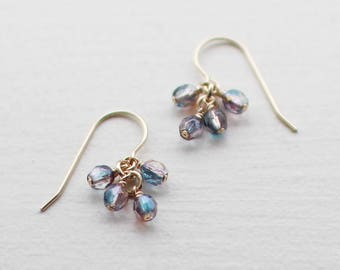 "14k goldfill earrings - ""lucky"" faceted earrings in blue and purple - summer earrings - handmade by elephantine"