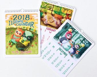 2018 Wall Calendar Cute Calendar 2018 Illustrated Calendar Woodland Animals Gifts Under 25 Stocking Stuffer Monthly Calendar Gifts for her